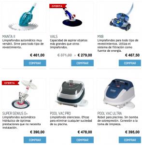 catalogo limpiafondos robots de aspiracion