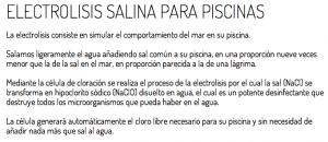 Descripción sobre Electrolisis Salina para piscinas