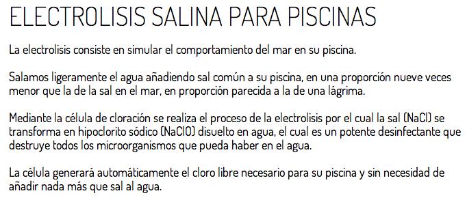 Qu es la electrolisis salina desfinfecci n con sal para for Cantidad de sal para piscinas